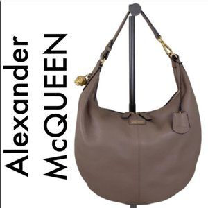 👑 ALEXANDER MCQUEEN LARGE LEATHER HOBO BAG 💯AUTH
